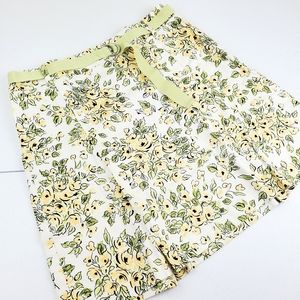ANN TAYLOR LOFT Yellow Floral Mini Skirt Belted